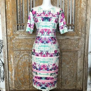 VINCE CAMUTO DRESS 4 Short Sleeve Printed Fitted